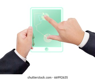 Hand holding a digital tablet pc on white background