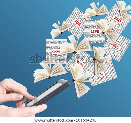 Hand holding digital tablet pc and business news (books and newspapers) flying away. Concept
