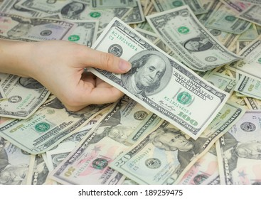 Hand holding dollars, concept of business and finance