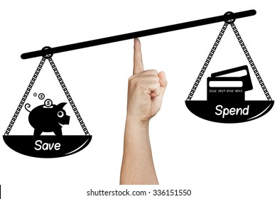 hand holding drawn silhouette scale weighing save versus spend career isolated