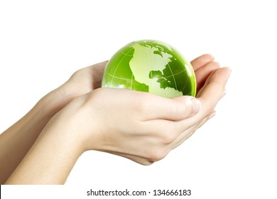 Hand holding the Earth isolated America