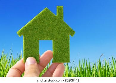 Hand holding eco house icon on nature background