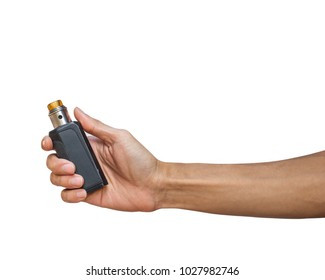 Hand holding Electric cigarette (Vapor cigarette) isolated on white background with clipping path.