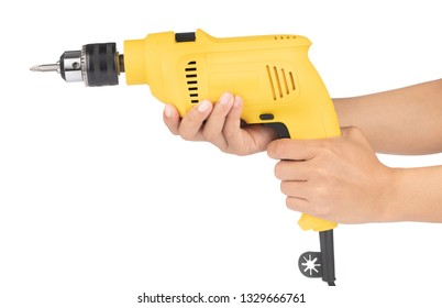 Hand holding Electric drill isolated on white background