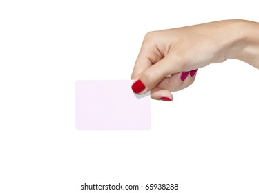Hand holding an empty business card. Isolated on white