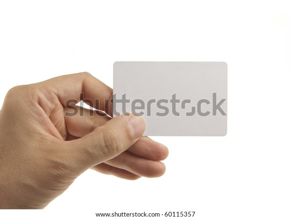 Hand holding empty card isolated on white
