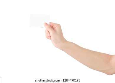 Hand holding empty card with your fingers on white background. clipping path.