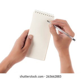 Hand holding an empty notepad (notebook) isolated on white