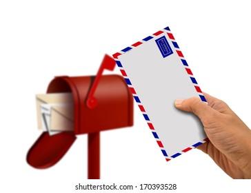 Hand Holding Envelope and Postal Box