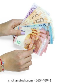 Hand holding euro money banknotes
