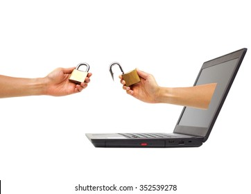hand holding a fish hook pretending to be a security lock vs hand holding a security lock / countermeasure to deal with spyware attack