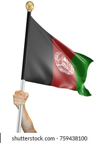 Hand holding the flag of Afghanistan isolated on a white background, 3D rendering