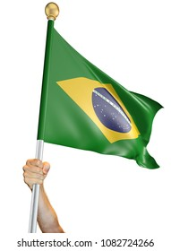 Hand holding the flag of Brazil isolated on a white background, 3D rendering