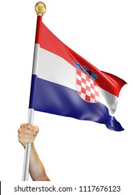 Hand holding the flag of Croatia isolated on a white background, 3D rendering