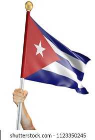 Hand holding the flag of Cuba isolated on a white background, 3D rendering