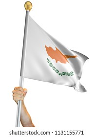 Hand holding the flag of Cyprus isolated on a white background, 3D rendering