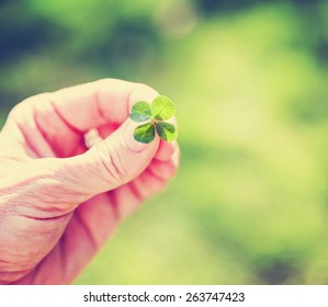 a hand holding a four leaf clover toned with a retro vintage instagram filter (very shallow depth of field) good for luck or st patrick's day