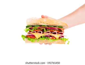 Hand holding fresh sandwich. Isolated on a white background.
