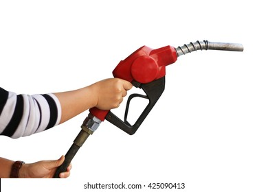 Hand holding fuel pump nozzle isolated on white background