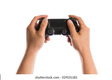 hand holding game controller  isolated on white background