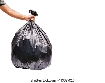 Hand holding garbage bag isolated on white background. With clipping path.