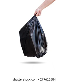 Hand holding a garbage bag on white background.