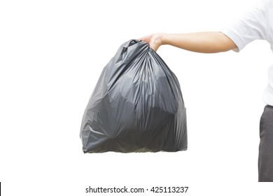 Hand holding a garbage bag on white background
