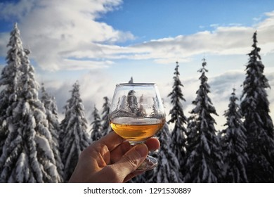 Hand holding a glass of alcohol backed by some trees with snow.