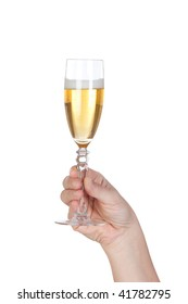 Hand holding glass of champagne on white background