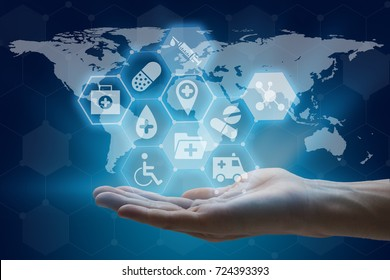 hand holding global network using modern medical and health care interface.