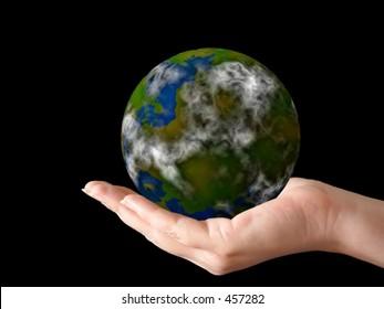 hand holding a globe (artwork + photo)