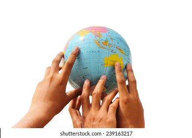 hand holding the globe on isolated background
