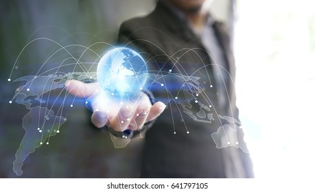Hand holding glowing globe symbol. World connected. Social network concept.