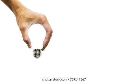 hand holding glowing polygonal lamp on background white. Innovative ideas concept. Bright idea. the way to solve problem. business finance.