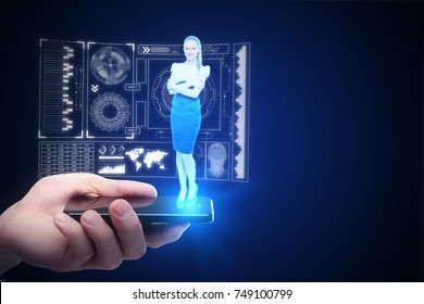 Hand holding glowing smartphone with abstract smiling business woman hologram on blue background. Innovation and communication concept. 3D Rendering