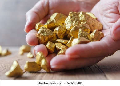 Hand holding gold nugget grains.