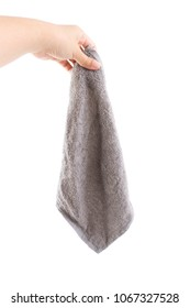 Hand holding gray color dirty rag kitchen cleaning with isolate background.