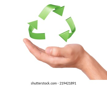 hand holding green Recycling symbol. ecology concept on white background