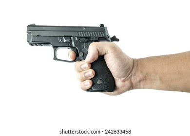 hand holding gun isolate on white background