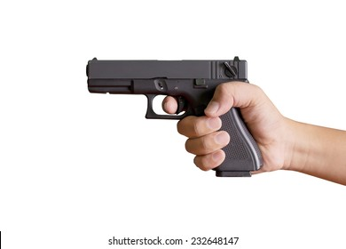 Hand holding gun on white background