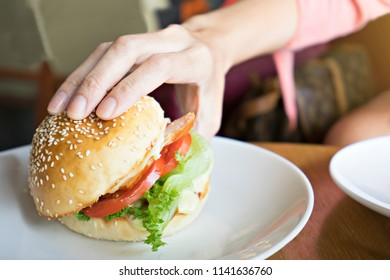 Hand holding hamburger.  Fast food concept.