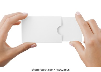 Hand holding horizontal business card in cardholder isolated at white background.