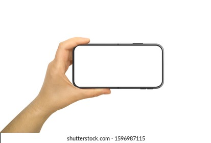 Hand Holding Horizontal Mobile Phone With Blank and White Screen - Shutterstock ID 1596987115