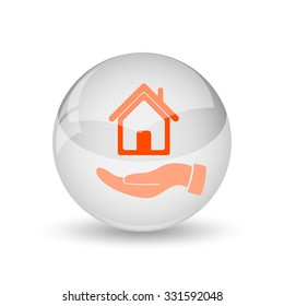 Hand holding house icon. Internet button on white background.
