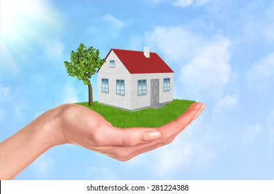 Hand holding house on green grass with tree, wind. Background clouds and blue sky