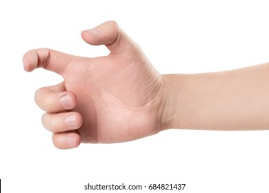 A hand holding an invisible gun, isolated on white background