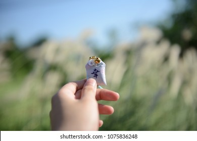 A hand holding Japanese amulet (Japanese on the amulet is mean happy and wealthy )