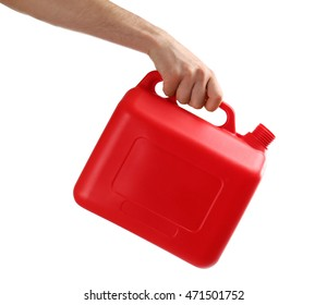 Hand holding jerrycan isolated on white