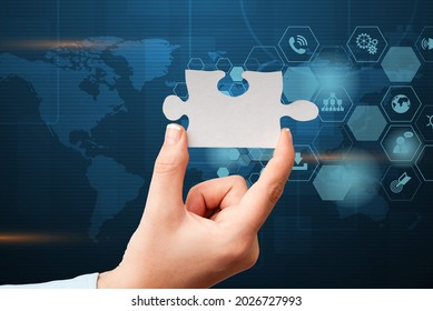 Hand Holding Jigsaw Puzzle Piece Unlocking New Futuristic Technologies. Palm Carrying Puzzles Part Displaying Solving Late Innovative Virtual Ideas.