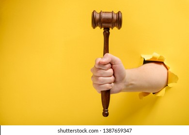 Hand holding a judge's gavel through torn yellow paper wall. Law and courts, triumph of justice.